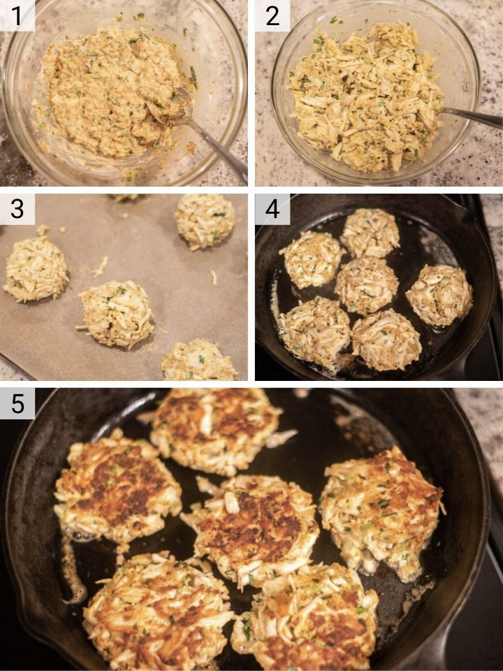 process shots of how to make Baltimore crab cakes