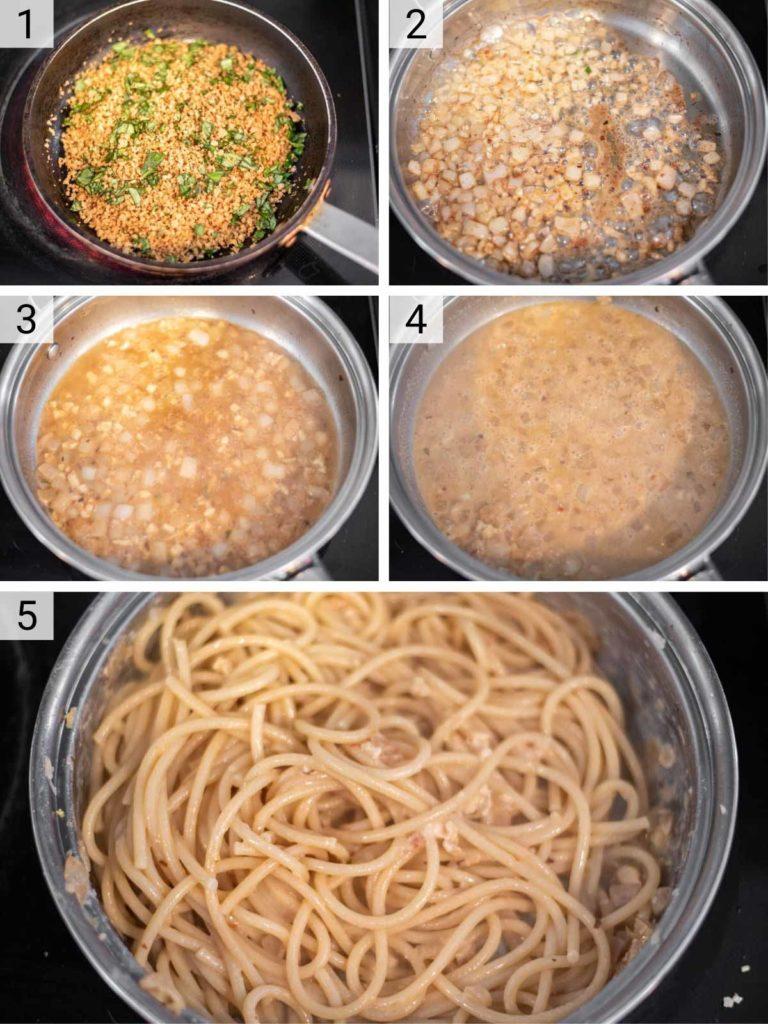 process shots of how to make garlic butter pasta
