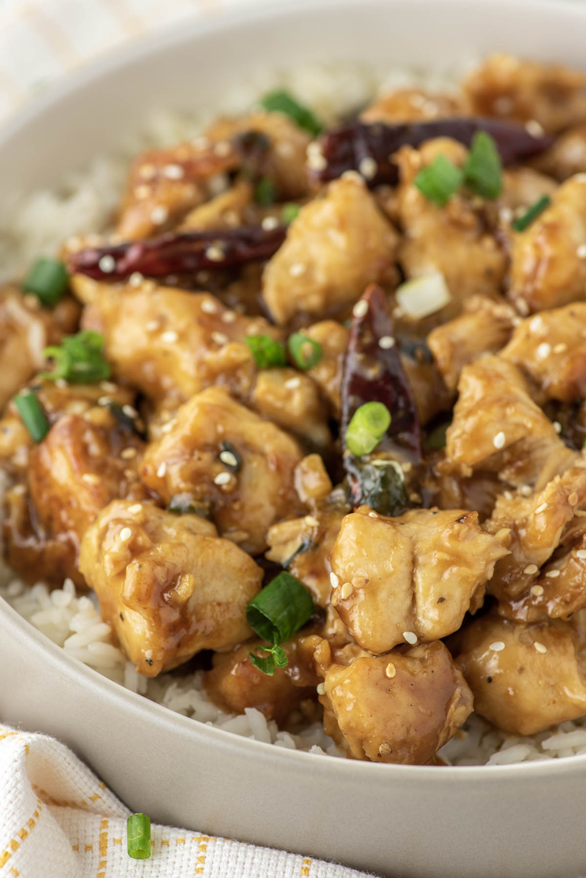 close-up of instant pot general tso's chicken on white plate