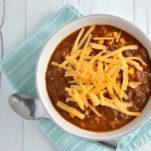 Instant Pot vegetarian chili in white bowl