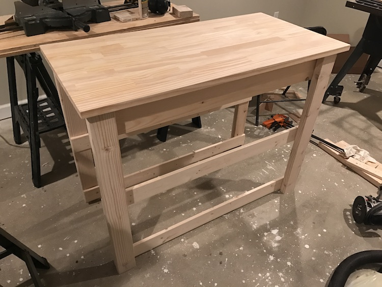 side rails being attached for kitchen island plan