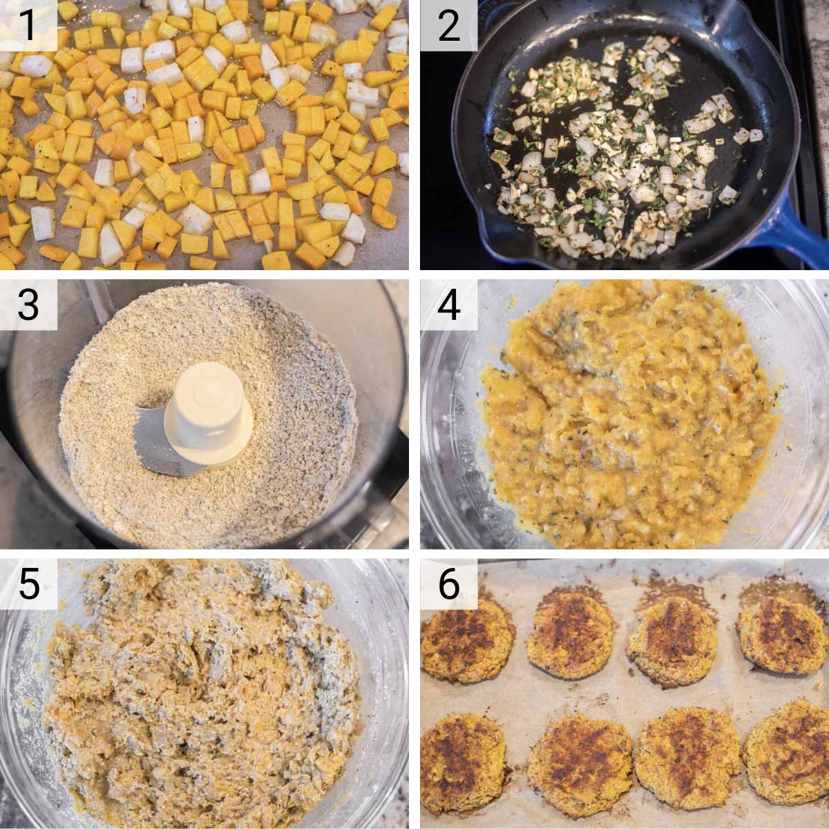process shots of how to make butternut squash burgers