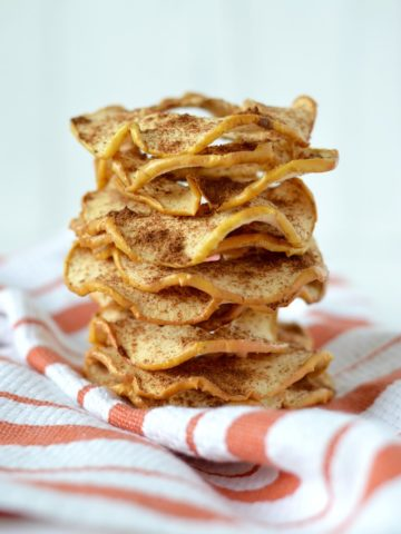 close-up of stacked homemade apple chips