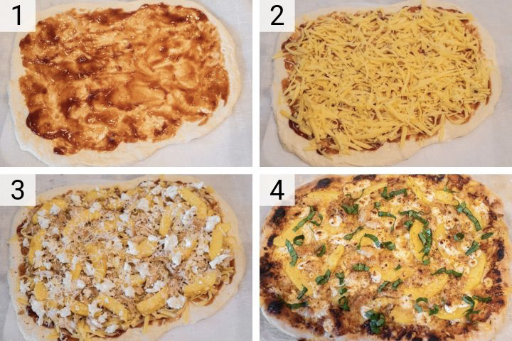 process shots of how to make peach BBQ chicken pizza