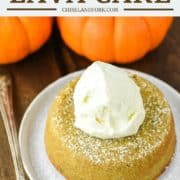 lava cake made with pumpkin on white plate with ice cream on top