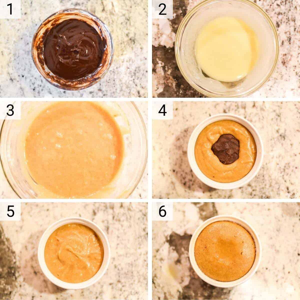 process shots of how to make lava cake with pumpkin