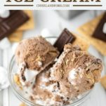 glass bowl of s'mores ice cream