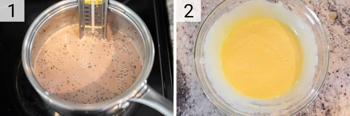 process shots of heating cream and milk up with chocolate and whisking together eggs and sugar