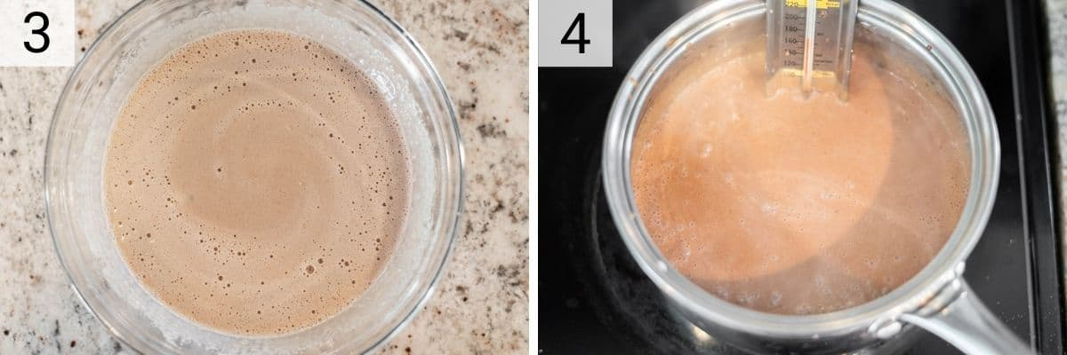 process shots of tempering egg yolks