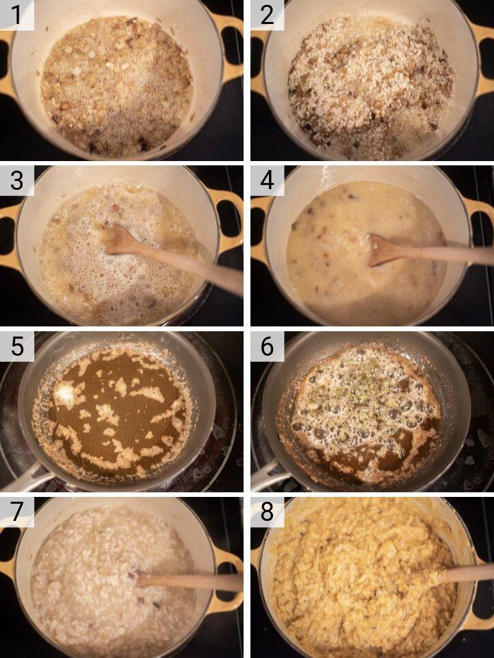 process shots of how to make sweet potato risotto
