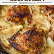 chicken thighs cooked in skillet with sauce