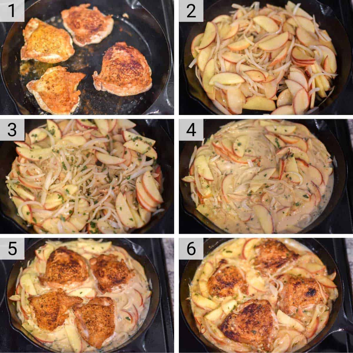 process shots of how to make apple cider chicken