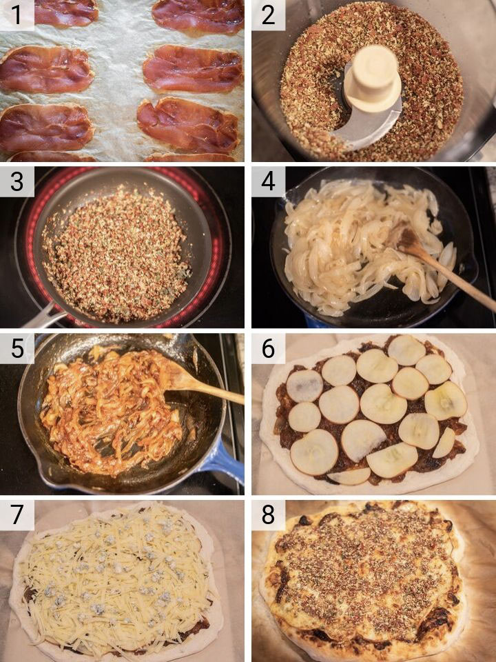 process shots of how to make apple prosciutto pizza