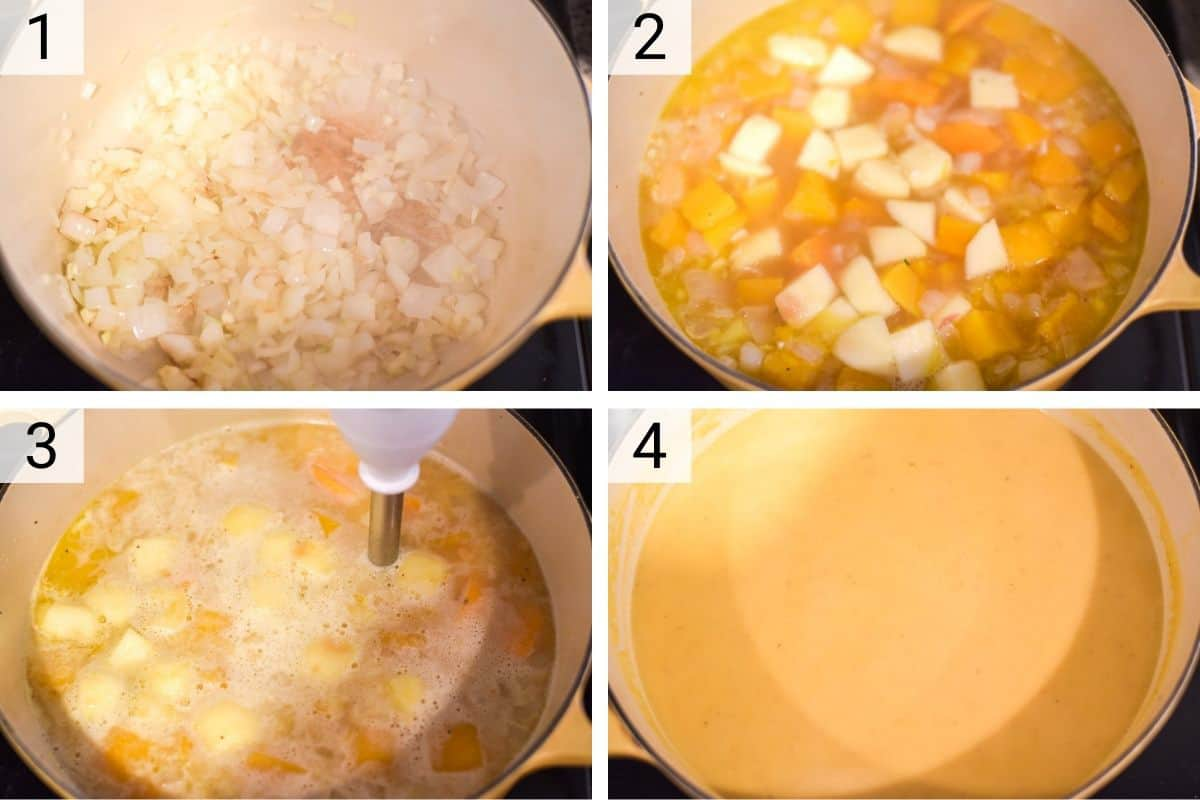 process shots of how to make butternut squash soup