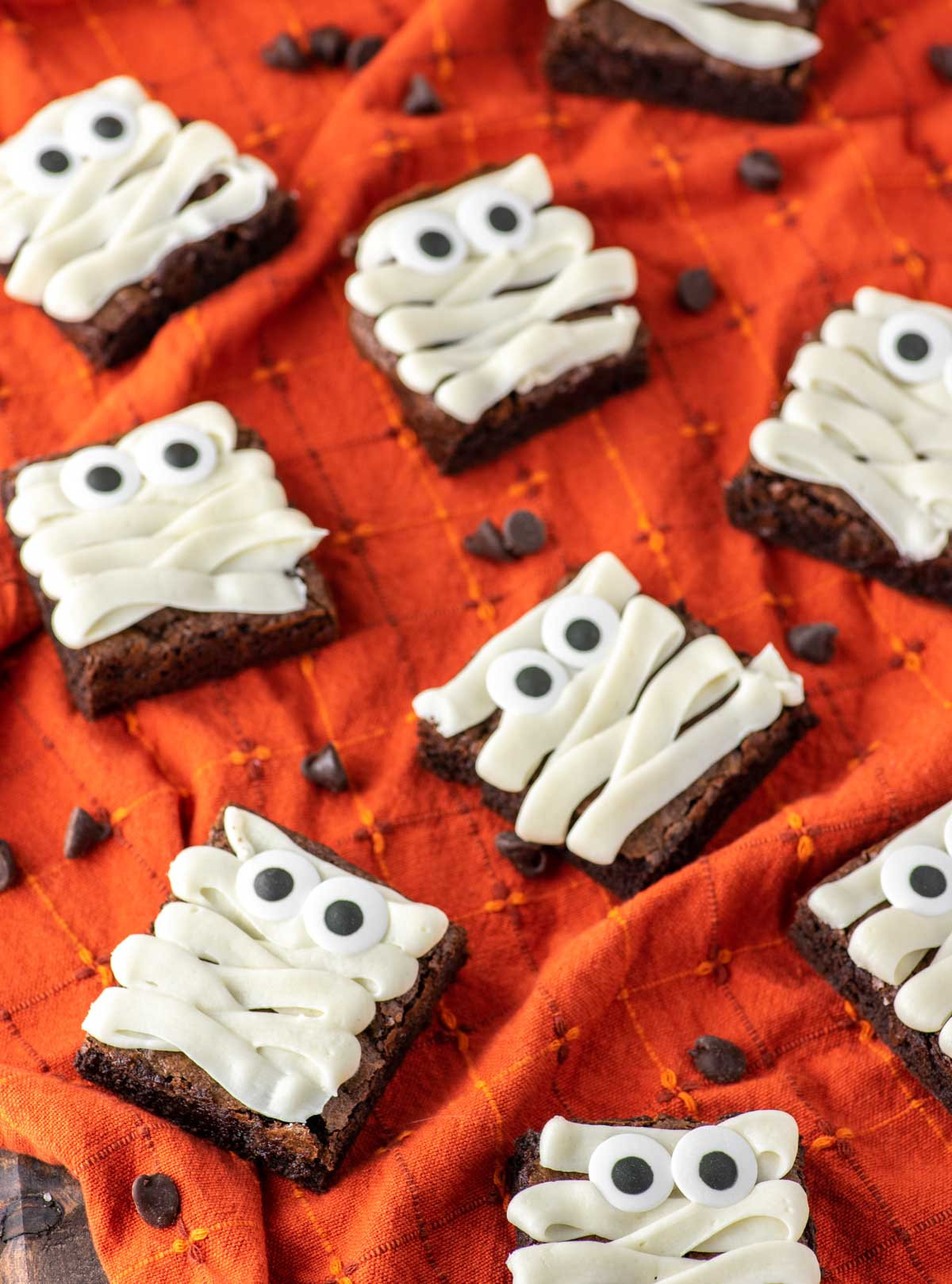 mummy brownies on dish towel