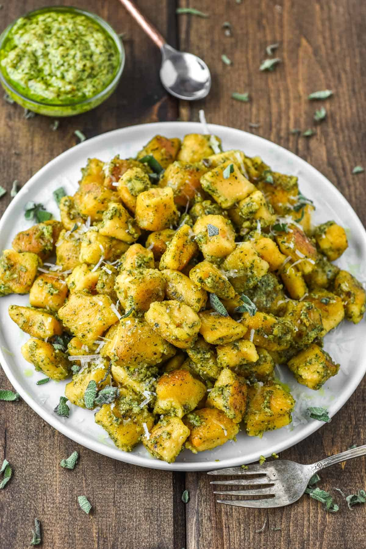 gnocchi made with sweet potatoes on white plate
