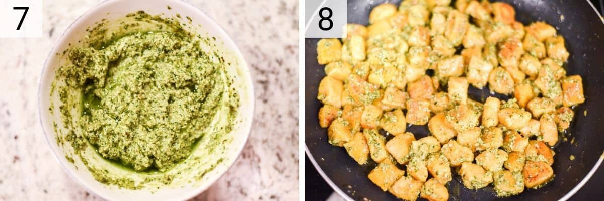 process shots of making sage pesto and tossing with gnocchi
