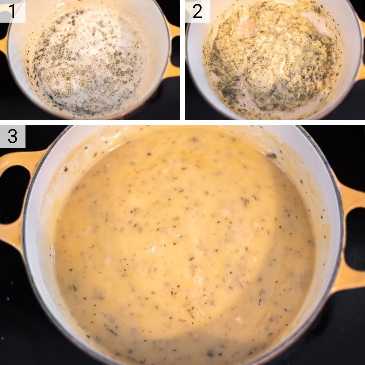 process shots of how to make turkey gravy