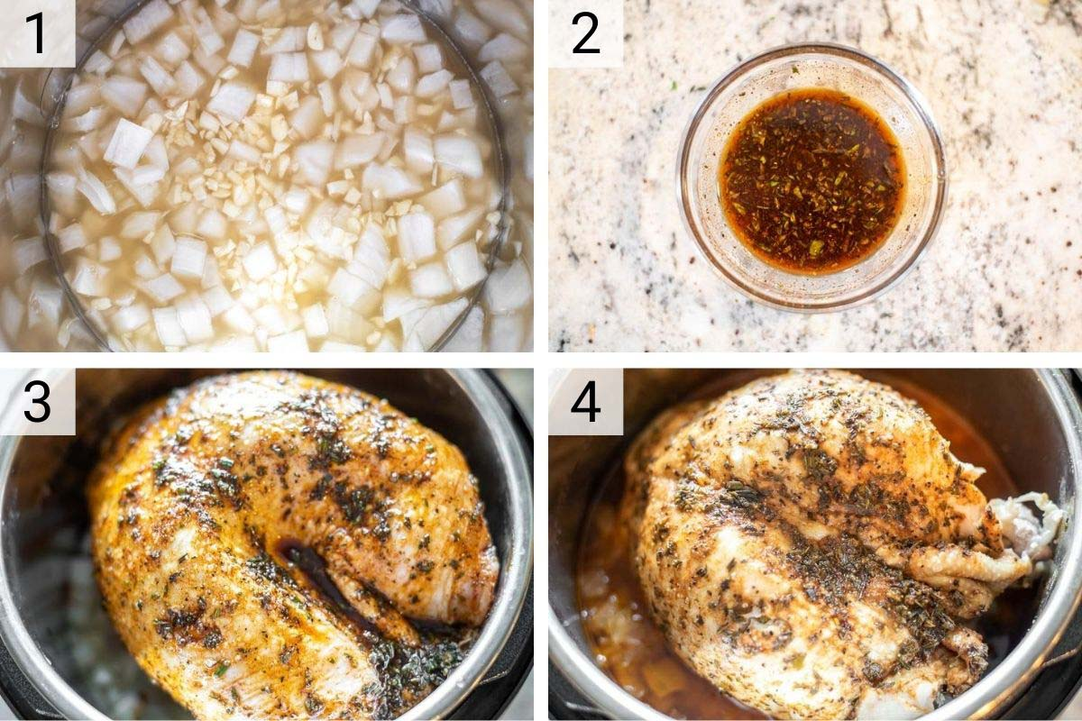 process shots of how to make turkey in Instant Pot