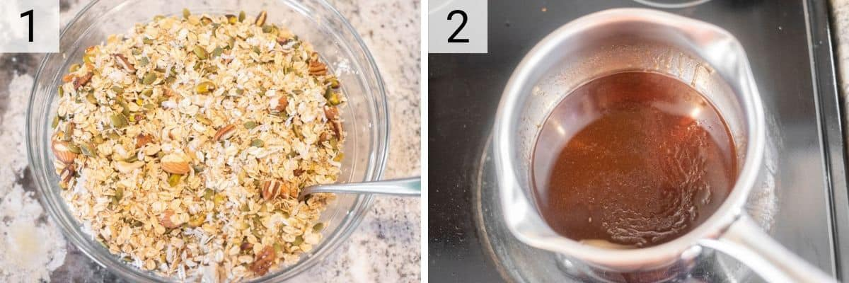 process shots of mixing granola ingredients in bowl and heating wet ingredients in pan