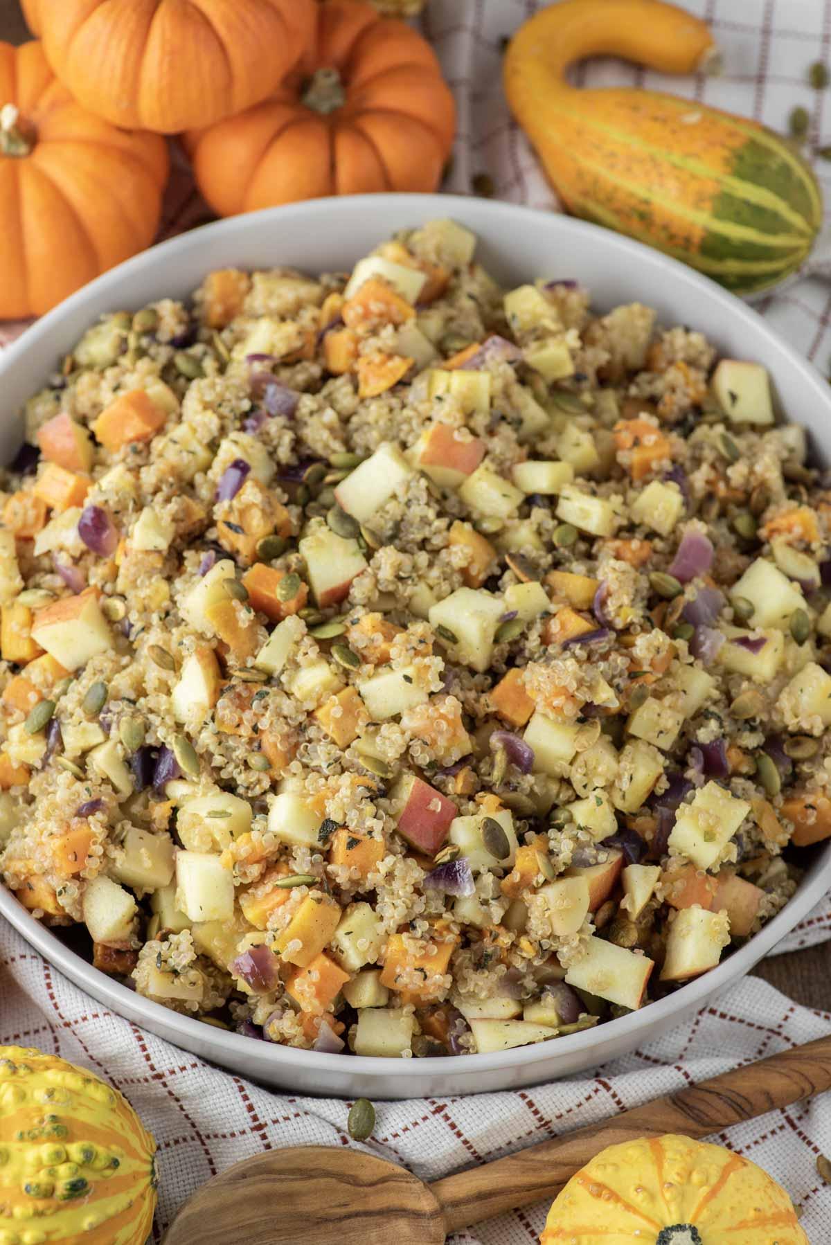 thanksgiving salad in grey bowl