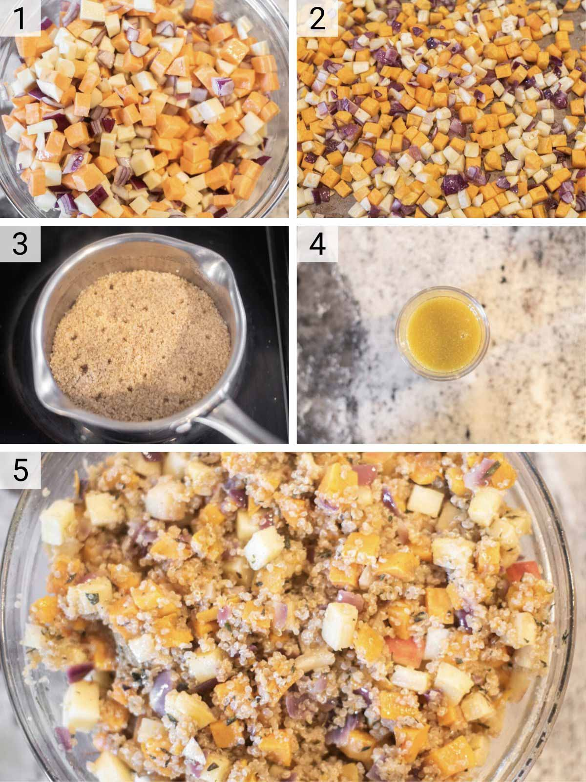 process shots of how to make Thanksgiving salad