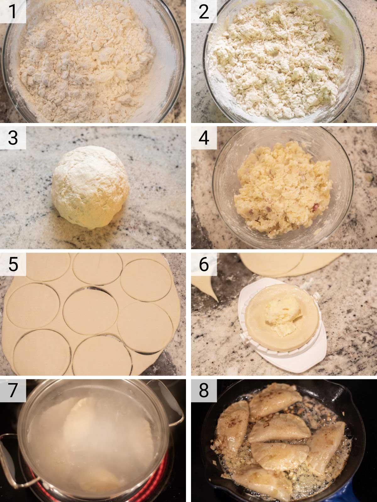 process shots of how to make homemade pieroigies