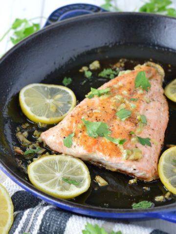 close-up of honey garlic salmon in skillet