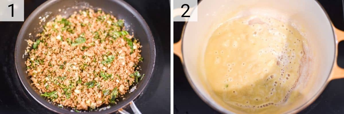 process shots of making bread crumb mixture and melting butter in pan