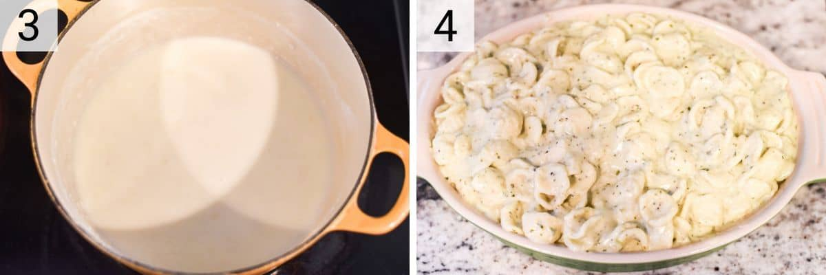 process shots of adding milk, cheese and pesto in pan and stirring in pasta in baking dish