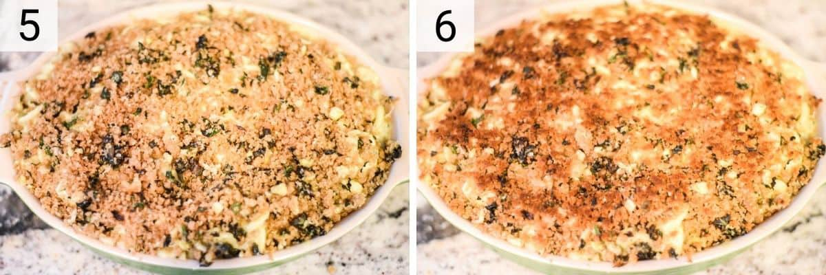 process shots of topping mac and cheese with breadcrumbs and broiling the top to get brown