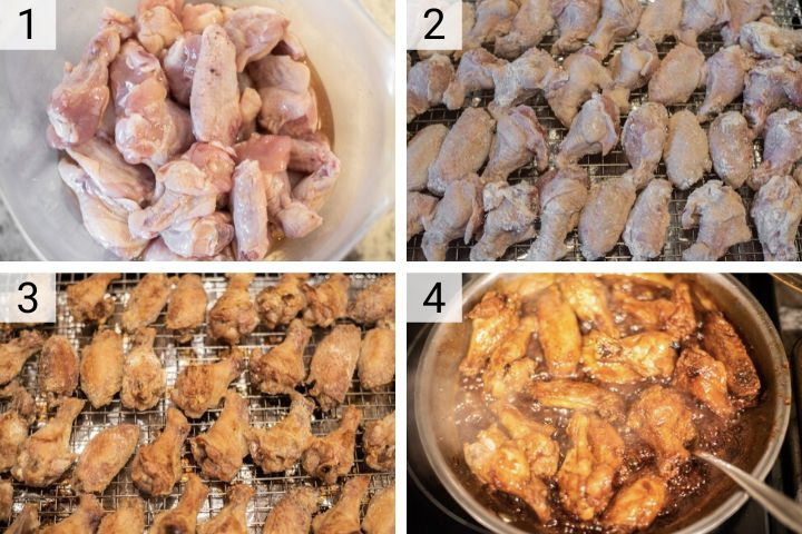 process shots of how to make baked teriyaki chicken wings