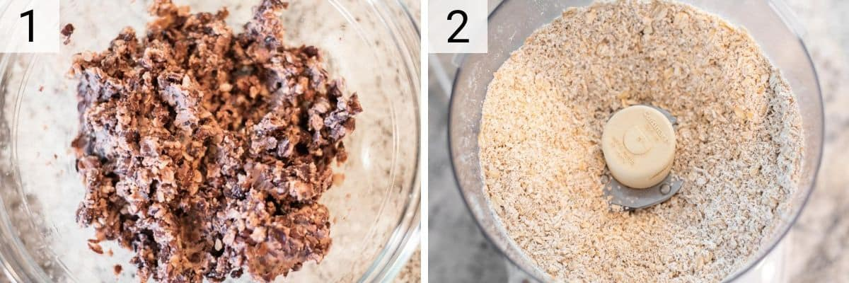 process shots of mashing black beans and blending oats into flour