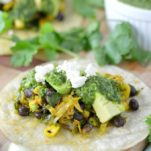 close-up of brussels sprouts tacos on cutting board
