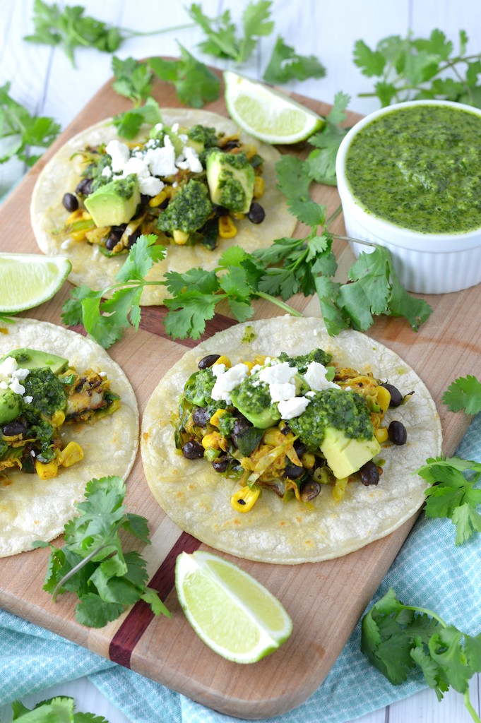 Brussels sprouts taco on cutting board with cilantro chimichurri
