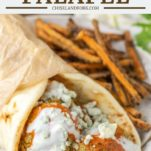 buffalo falafel in naan bread with sweet potato fries