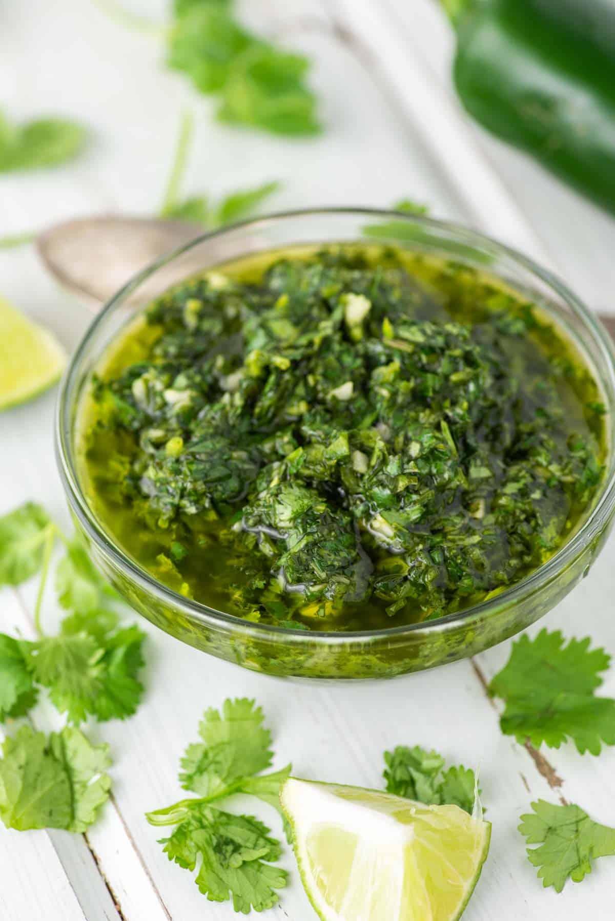 cilantro chimichurri in glass bowl