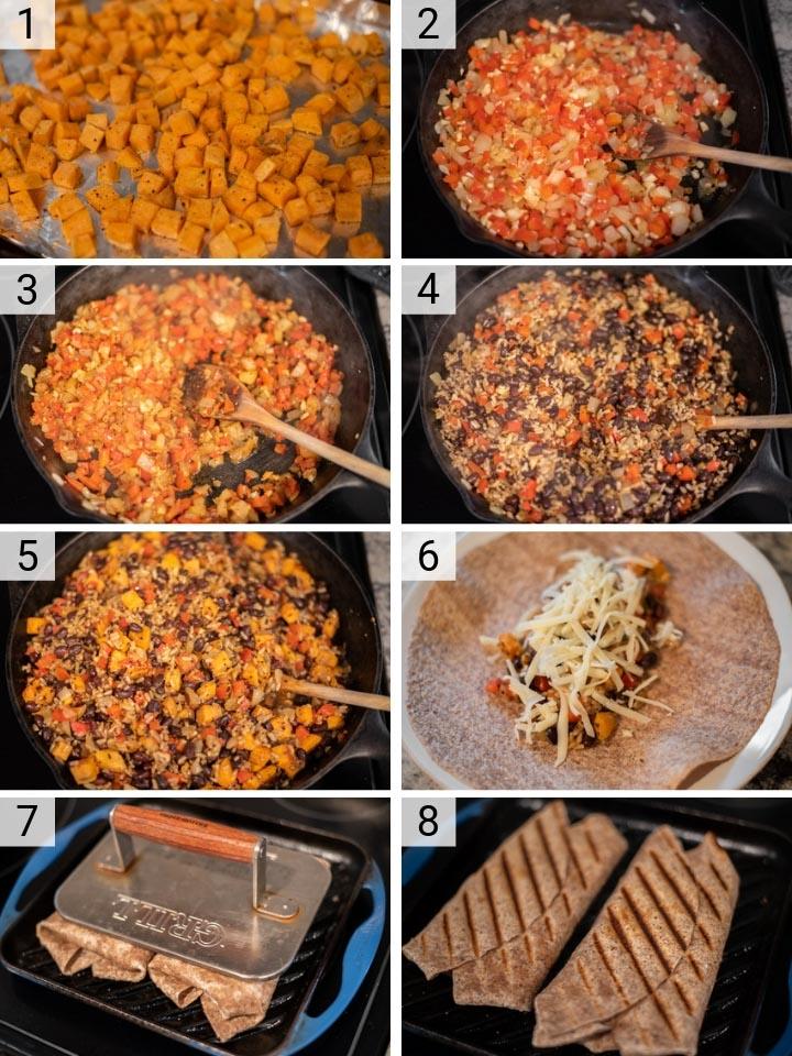 process shots of how to make sweet potato black bean burritos