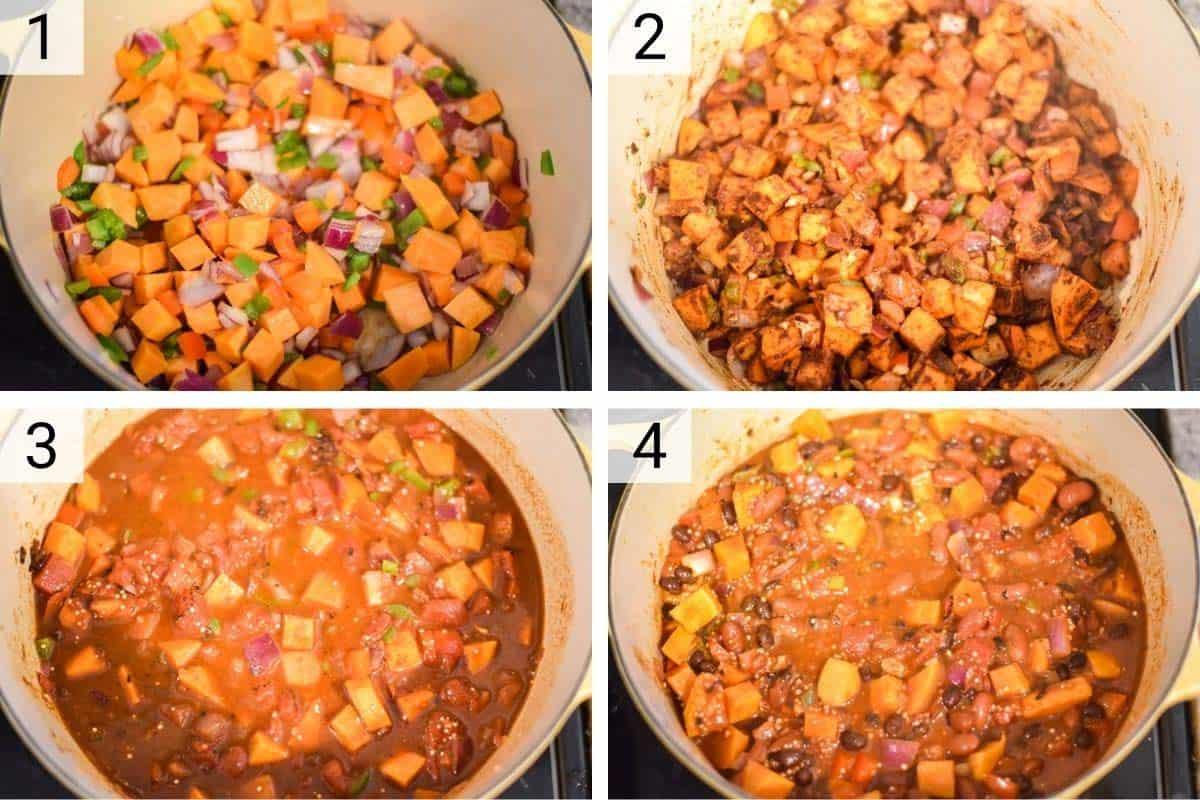 process shots of how to make sweet potato chili