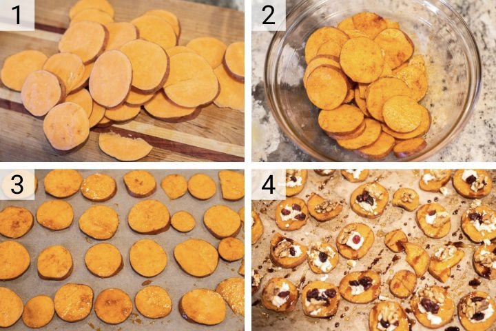 process shots of how to make sweet potato rounds