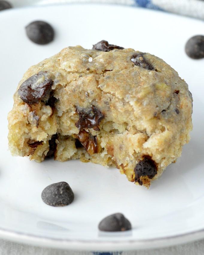 close-up of vegan banana chocolate chip muffins on white plate