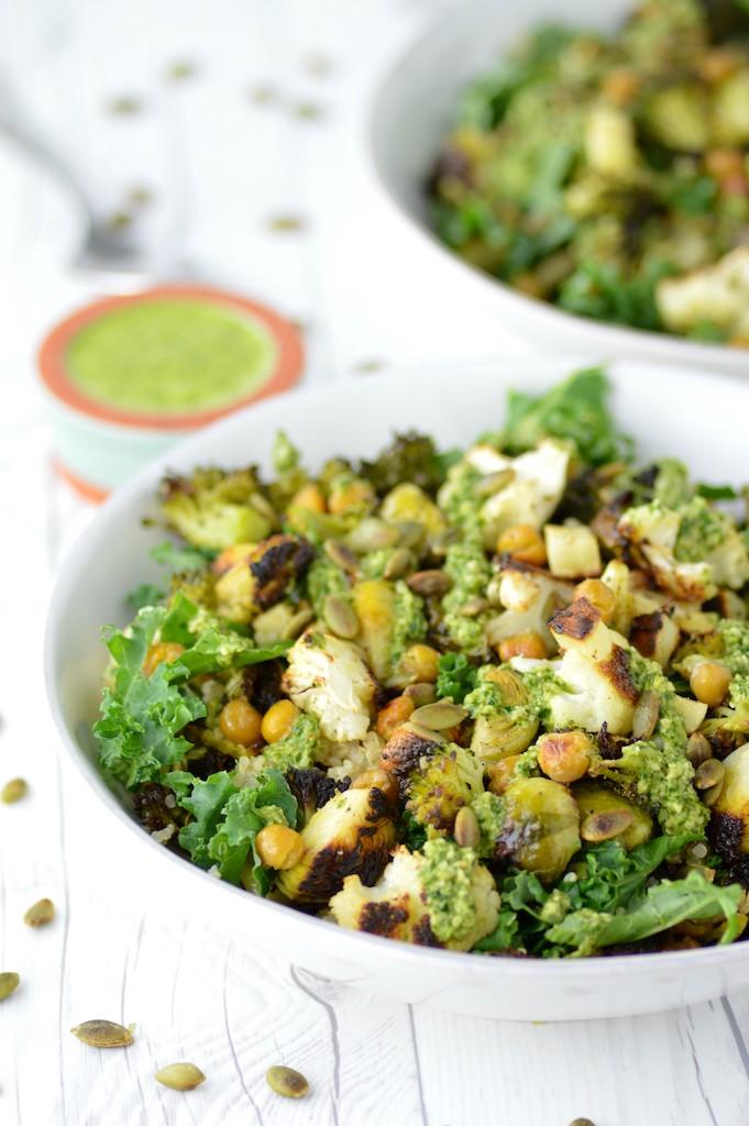close-up of veggie grain bowl in white bowl