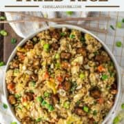 overhead shot of fried rice made with cauliflower in bowl