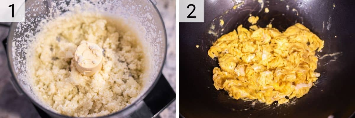 process shots of making cauliflower rice in food processor and scrambling eggs in skillet