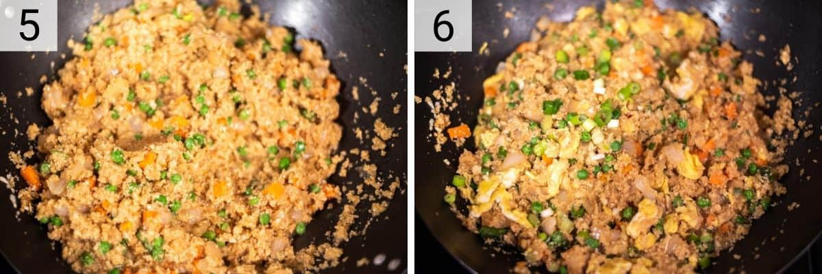 process shots of adding peas and carrots before stirring in the remaining ingredients of the cauliflower fried rice