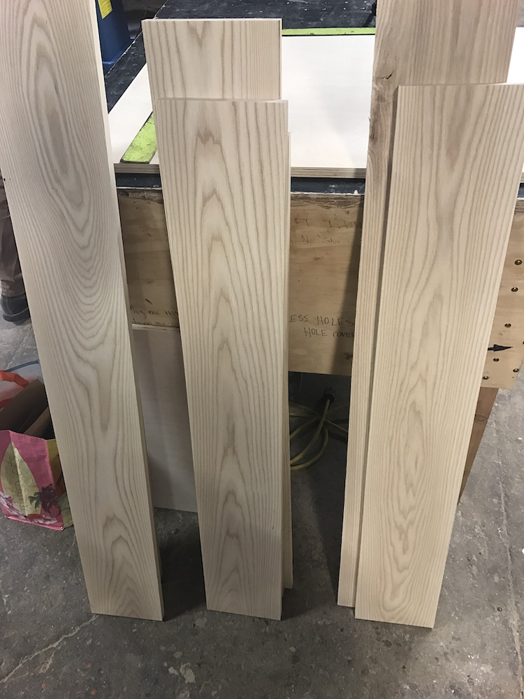 pieces of 1x8 ash lined up