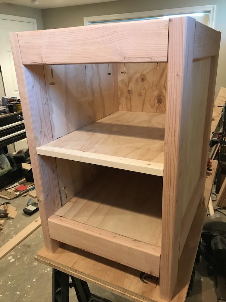 front of desk being put together
