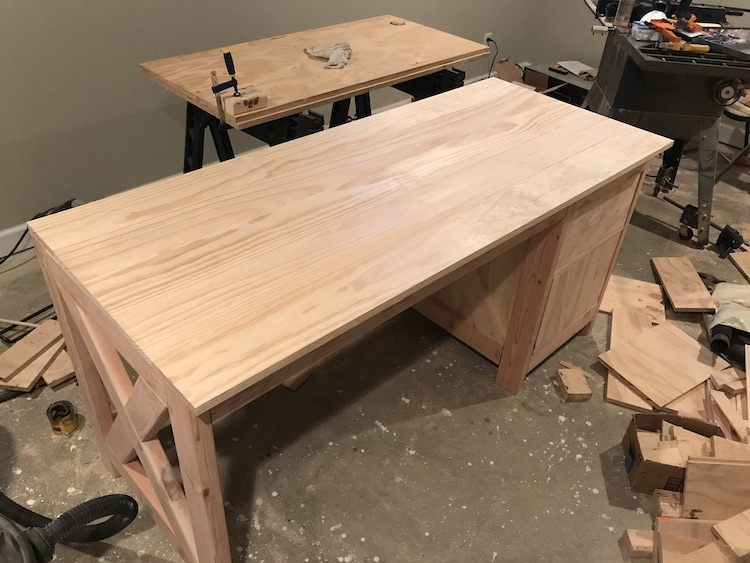placing top on farmhouse desk