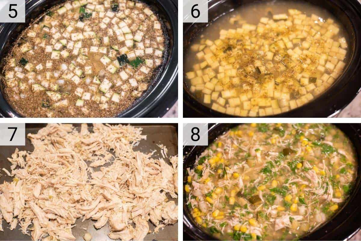process shots of making pozole in slow cooker