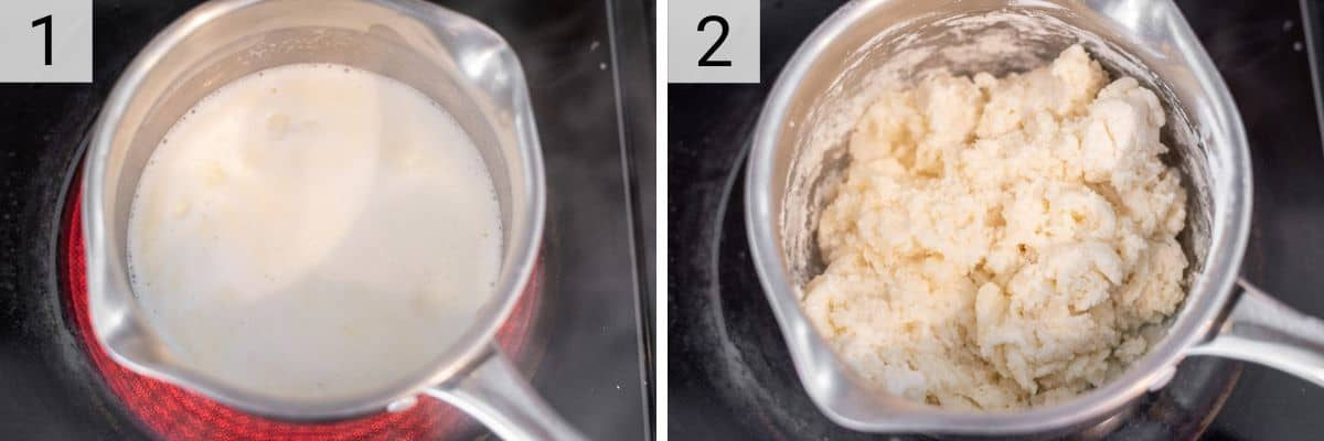 process shots of heating up milk, butter and salt and stirring in tapioca flour in pan